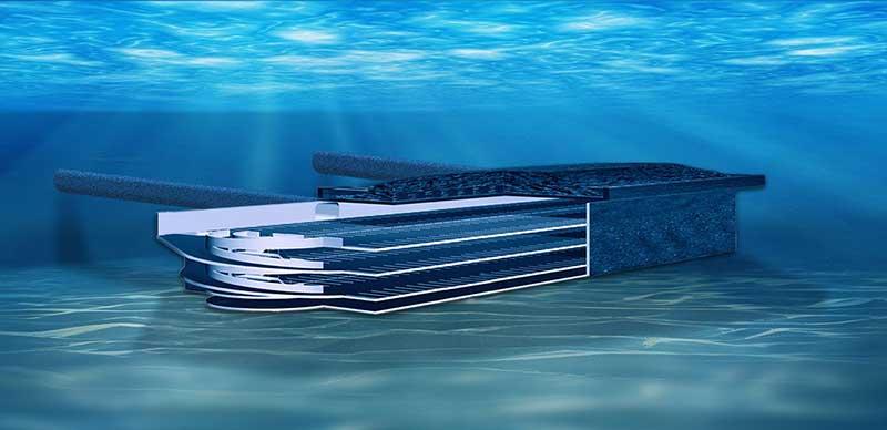 Ein Blick auf einen Querschnitt der die Garage unter Wasser zeigt. Unterwasser Parkhaus